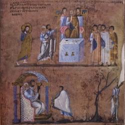 Il processo di Cristo davanti a Pilato, con il rimorso e suicidio di Giuda